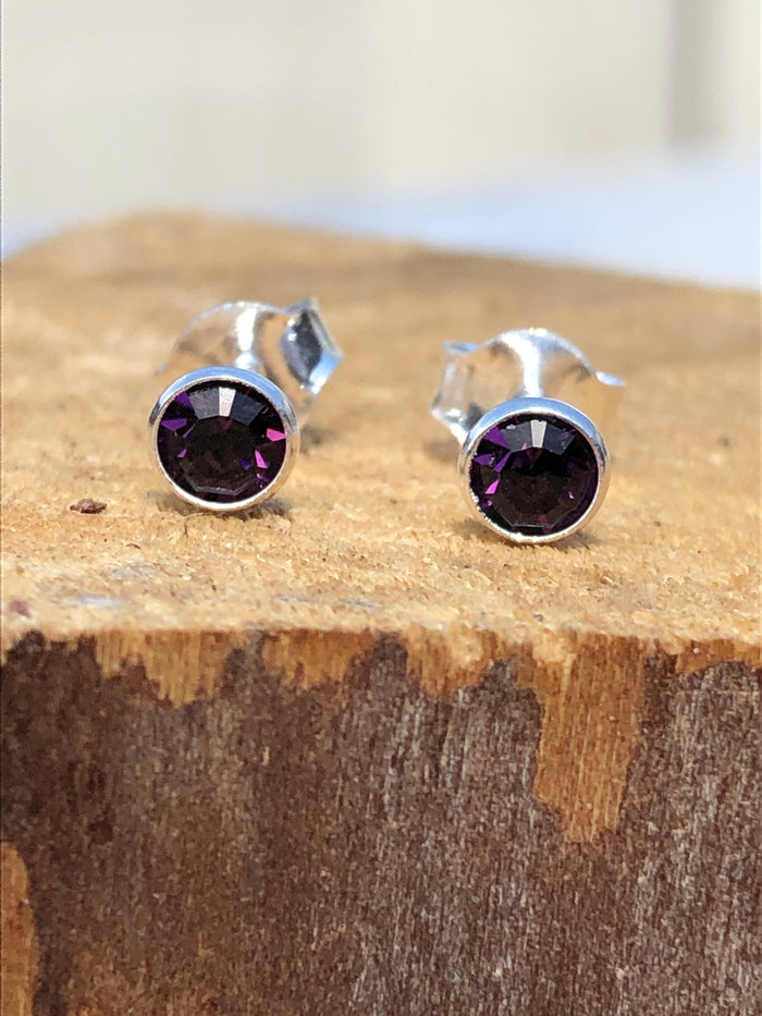 February Amethyst Crystal Stud Earrings