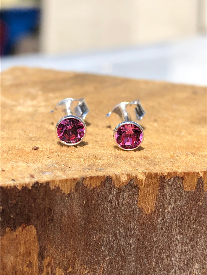 Birthstone October Tourmaline Crystal Stud Earrings