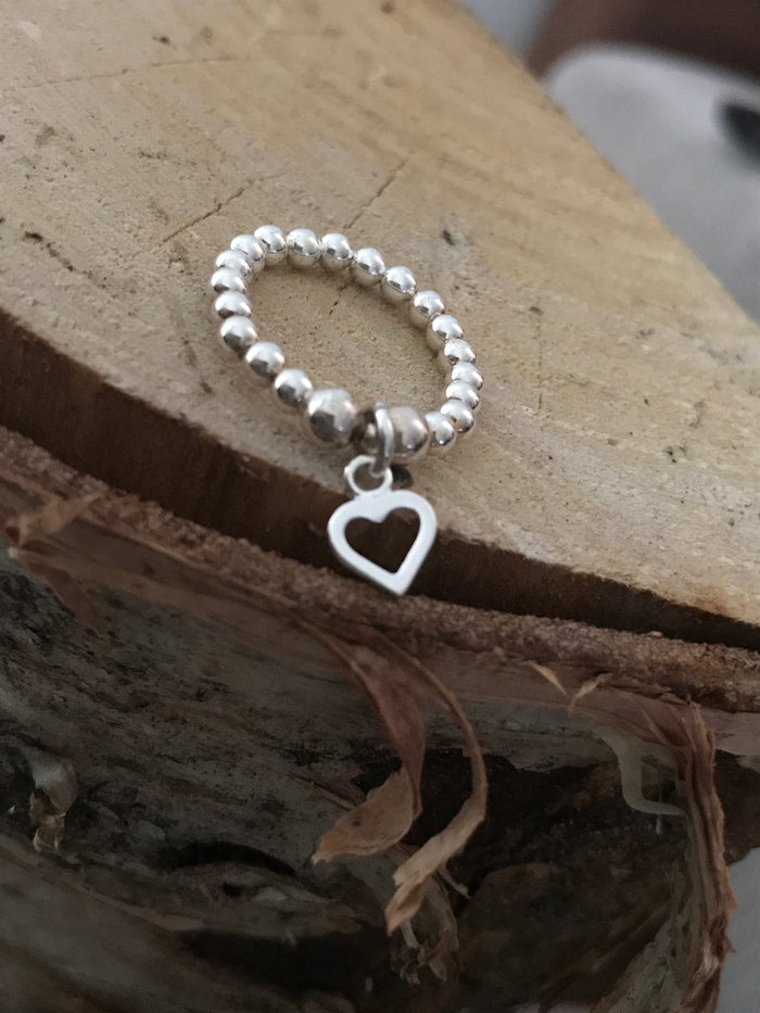 Open heart bead ring