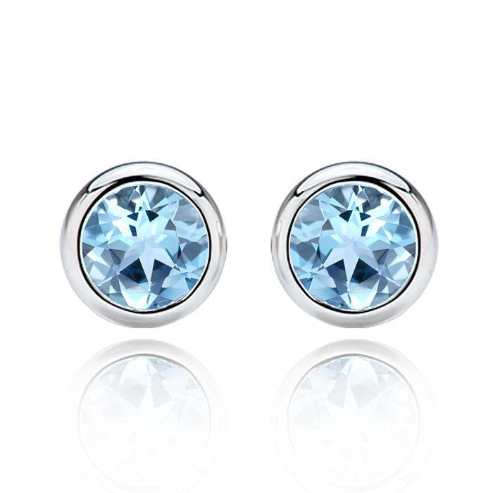 Aquamarine stud earrings. March birthstone.