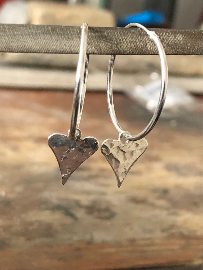 Hammered Heart Hoops