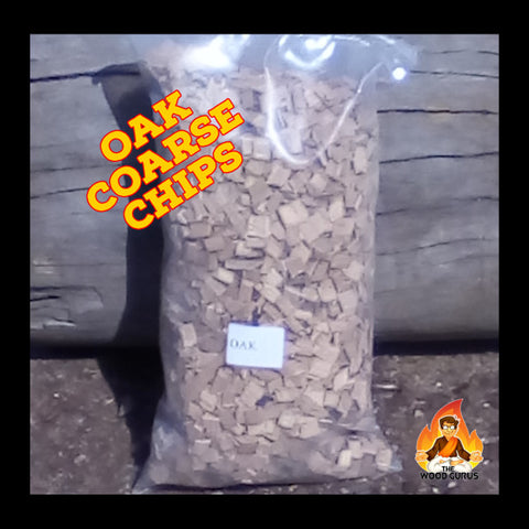 Oak Wood Coarse Chips (Smoking) - Sold per Single 1kg Bag