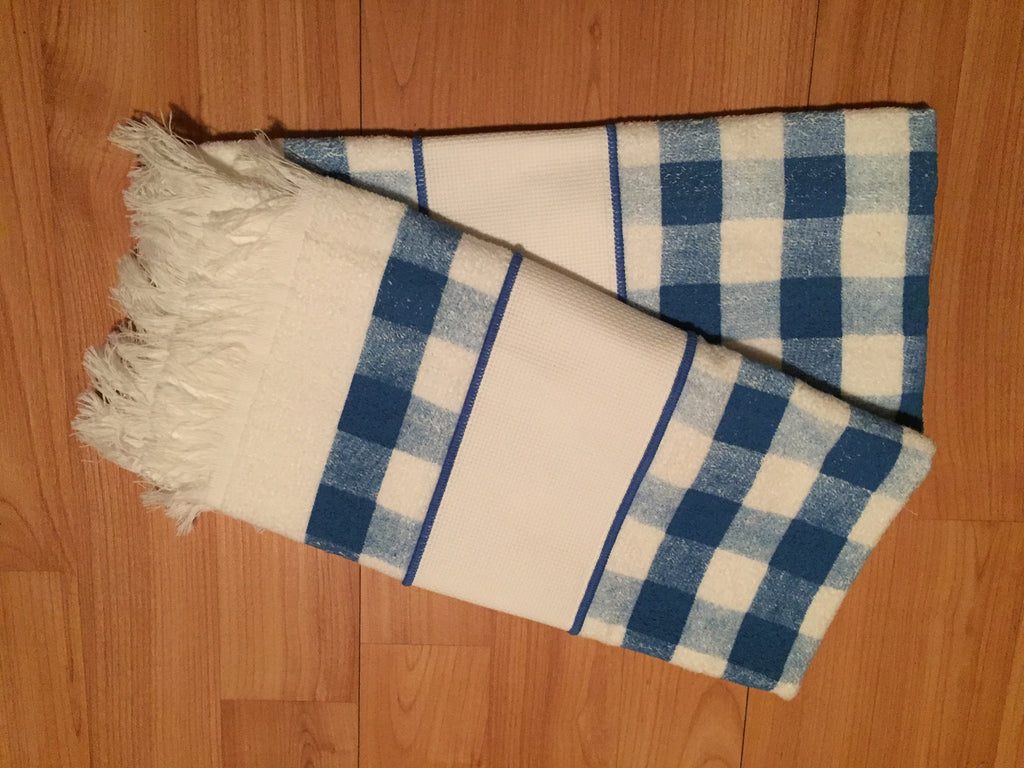 Blue and White Checkered Towel