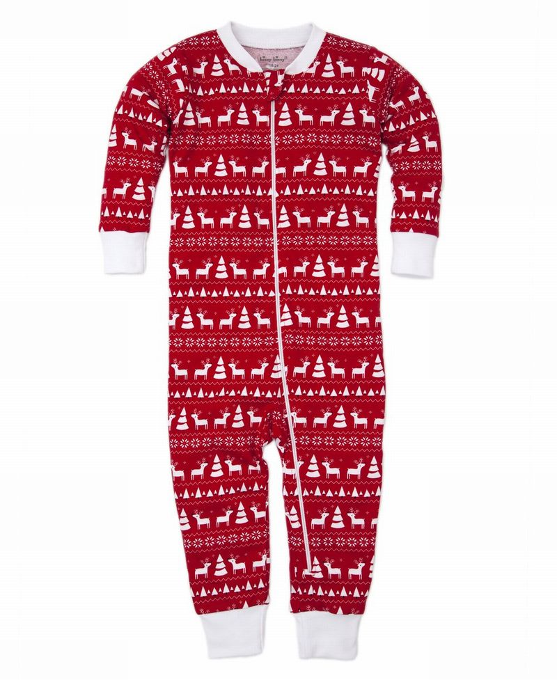 Christmas Deer Pajama Zip Coverall - 18-24 months