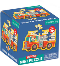 Load image into Gallery viewer, Firetruck Shaped Mini Puzzle - 24 pieces