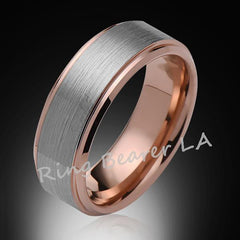 Ring Bearer LA Rose Gold Tungsten Bands