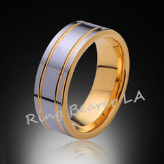 Ring Bearer LA Yellow Gold Tungsten Bands