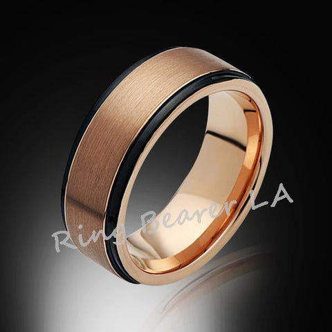 8mm,New,Satin,Rose Gold Brushed,,Tungsten Ring,Mens Wedding Band,Comfort Fit - RING BEARER LA