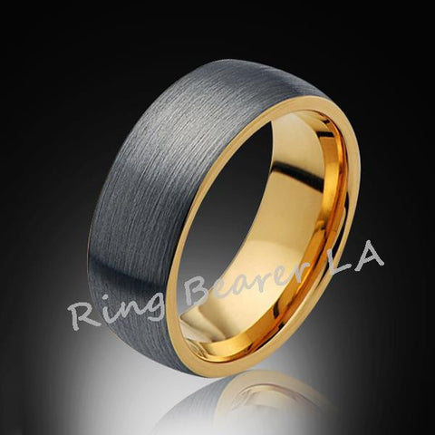 8mm,Unique,Brushed Satin Gray Brushed,Yellow Gold,Tungsten Ring,Wedding Band,Unisex,Comfort Fit - RING BEARER LA