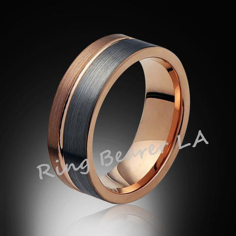 8mm,Unique,Satin Brushed,Gray and Rose Gold,Groove,Tungsten RIng,Mens,Wedding Band,Comfort Fit - RING BEARER LA