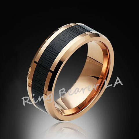 8mm,Unique,Rose Gold,Koa Wood,Tungsten RIng,Rose Gold,Wedding Band,wood inlay,Comfort Fit - RING BEARER LA