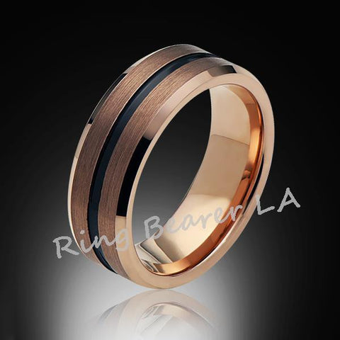 8mm,Satin Brushed,Rose Gold,Groove,Tungsten Ring,Rose Gold,Wedding Band,Comfort Fit - RING BEARER LA