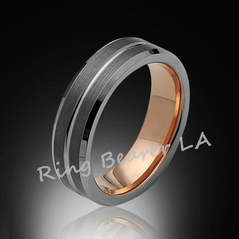 6mm,Satin Brushed,Rose Gold,Groove,Tungsten Ring,Rose Gold,Wedding Band,Comfort Fit - RING BEARER LA