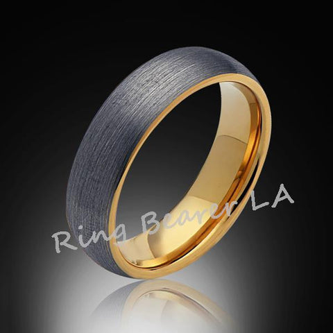6mm,Unique,Brushed Satin Gray Brushed,Yellow Gold,Tungsten Ring,Wedding Band,Unisex,Comfort Fit - RING BEARER LA