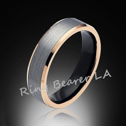 6mm,Gray Satin Brushed,Rose Gold Edges,Tungsten RIng,Rose Gold,Wedding Band,Comfort Fit - RING BEARER LA