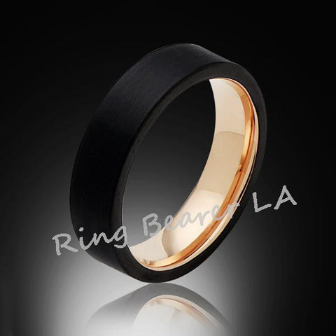 6mm,Unique,Black Satin Brushed,Rose Gold,Tungsten Rings,Wedding Band,Pipe Cut,Comfort Fit - RING BEARER LA