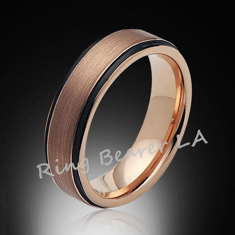 6mm,New,Unique,Brushed Satin,Rose Gold,Tungsten Ring,Wedding Band,Unisex,Comfort Fit - RING BEARER LA