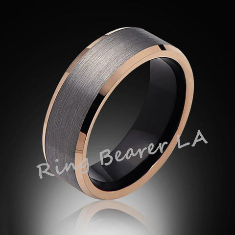 8mm,Gray Satin Brushed,Rose Gold Edges,Tungsten RIng,Rose Gold,Wedding Band,Comfort Fit - RING BEARER LA
