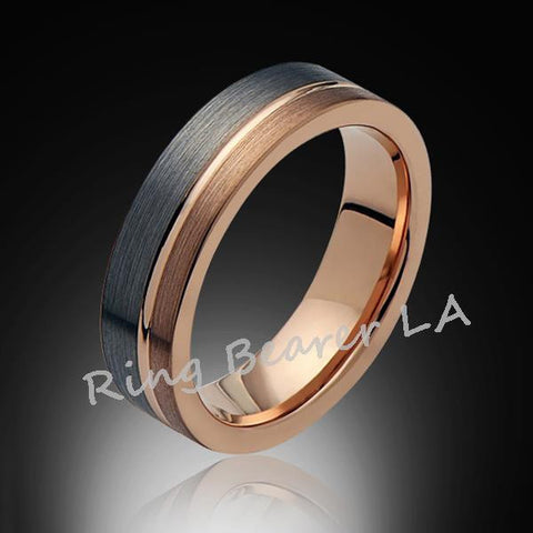 6mm,Unique,Satin Brushed,Gray,Rose Gold Groove,Tungsten RIng,Wedding Band,Unisex,Comfort Fit - RING BEARER LA