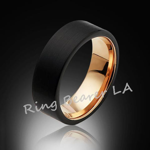 8mm,Satin,Black Brushed,Rose Gold Groove,Tungsten Rings,Rose Gold,Wedding Band,Pipe Cut,Comfort Fit - RING BEARER LA