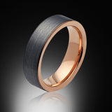 Rose Gold Tungsten Ring - Brushed Gray - Pipe Cut - 6mm - Engagement Band - Wedding Ring - Mens Band - Unisex