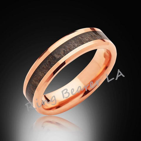 6mm,Rose Gold,Deer Antler,Tungsten Ring,Rose Gold,Wedding Band,Antler inlay,Unisex,Comfort Fit,Unique - RING BEARER LA
