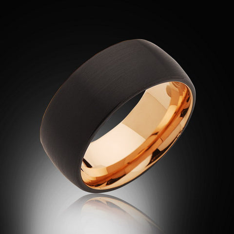 10mm,Unique,Black Brushed,Rose Gold Groove,Tungsten RIng,Rose Gold,Wedding Band,Comfort Fit - RING BEARER LA