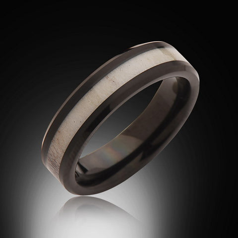 6mm,Black, Deer Antler,Ring,Tungsten black,Wedding Band,Antler inlay,Unisex,Comfort Fit,Unique,New - RING BEARER LA