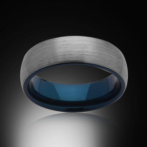 Blue Tungsten Ring - Brushed Gray - Blue Engagement Band - 8MM - Mens Ring - Unisex