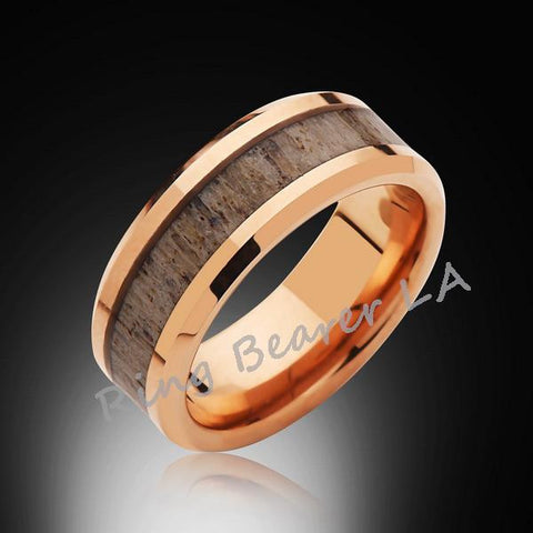 8mm,Rose Gold,Deer Antler,Tungsten Ring,Rose Gold,Wedding Band,Antler inlay,Unisex,Comfort Fit,Unique - RING BEARER LA