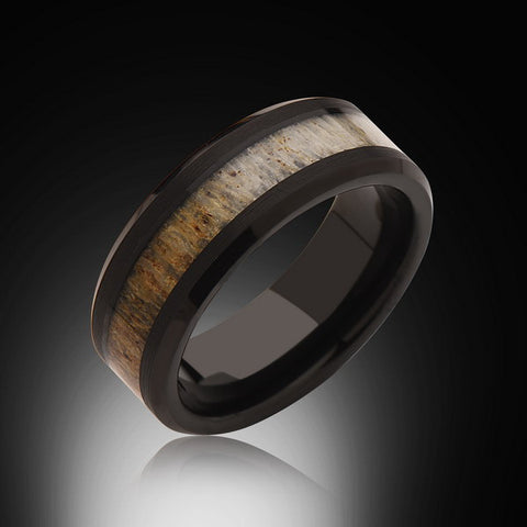 8mm,Black, Deer Antler,Ring,Tungsten black,Wedding Band,Antler inlay,Unisex,Comfort Fit,Unique,New - RING BEARER LA