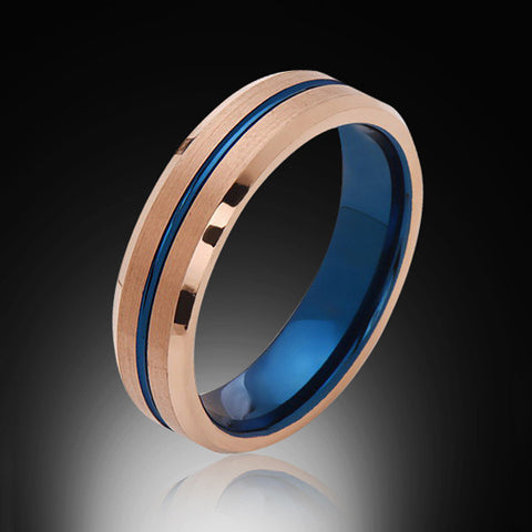 6mm,Brushed Satin,Rose Gold,BlueTungsten Ring,Matching Wedding Band,Blue Ring,Comfort Fit - RING BEARER LA