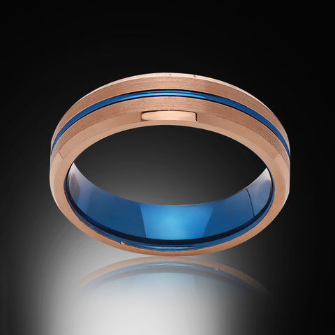 Blue Tungsten Ring - Brushed Rose Gold - Engagement Band - 6MM - Mens Ring - Unisex - RING BEARER LA