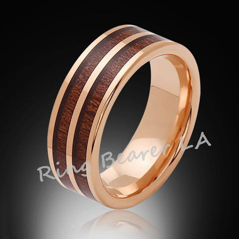 8mm,Unique,Rose Gold,Koa Wood,Tungsten RIng,Rose Gold,Wedding Band,wood inlay,Mens Band,Comfort Fit - RING BEARER LA