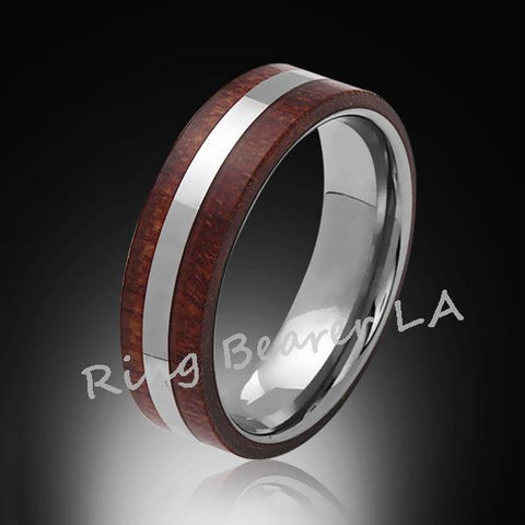 6mm,Unique,Koa Wood,Tungsten RIng,White Gold,Wedding Band,wood inlay,Unisex,Comfort Fit - RING BEARER LA