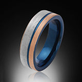 Blue Tungsten Ring - Brushed Rose Gold - Gray - Engagement Band - 6MM - Mens Ring - Unisex