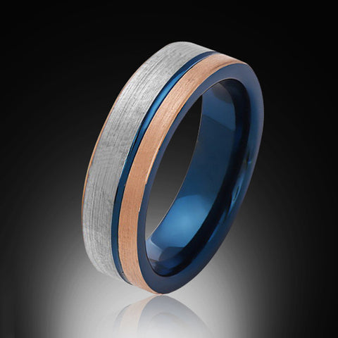 6mm,Brushed Satin Rose Gold and Gray,Blue Tungsten Ring,Mens Wedding Band,Blue Mens Ring - RING BEARER LA
