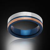 Blue Tungsten Ring - Brushed Rose Gold - Gray - Engagement Band - 6MM - Mens Ring - Unisex - RING BEARER LA