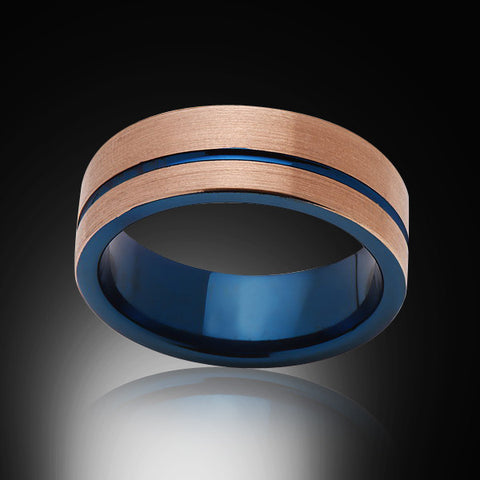 Blue Tungsten Ring - Brushed Rose Gold - Offset Groove - Engagement Band - 8MM -Mens Band - Unisex - RING BEARER LA