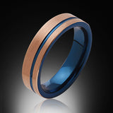 Blue Tungsten Ring - Brushed Rose Gold - Offset Groove - Engagement Band - 6MM - Mens Ring - Unisex