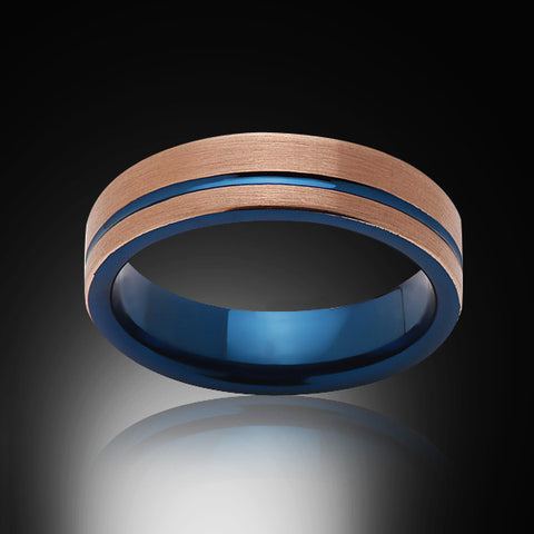 Blue Tungsten Ring - Brushed Rose Gold - Offset Groove - Engagement Band - 6MM - Mens Ring - Unisex - RING BEARER LA