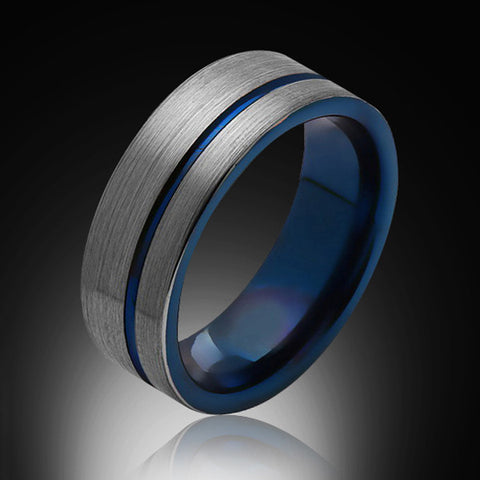 8mm,Unique,Brushed Satin Gray,Blue Groove,Tungsten Ring,Blue Mens Wedding Band,Blue Ring,Comfort FIt - RING BEARER LA