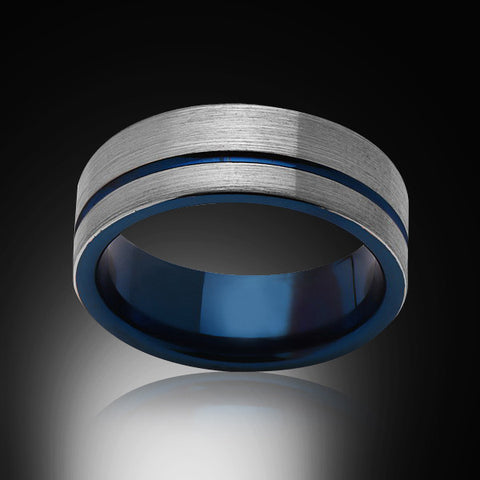 Blue Tungsten Ring - Brushed Gray - Engagement Band - 8MM - Mens Ring - Unisex - RING BEARER LA