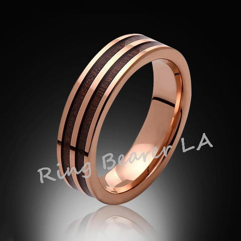 6mm,Unique,Rose Gold,Koa Wood,Tungsten RIng,Rose Gold,Wedding Band,wood inlay,Unisex,Comfort Fit - RING BEARER LA