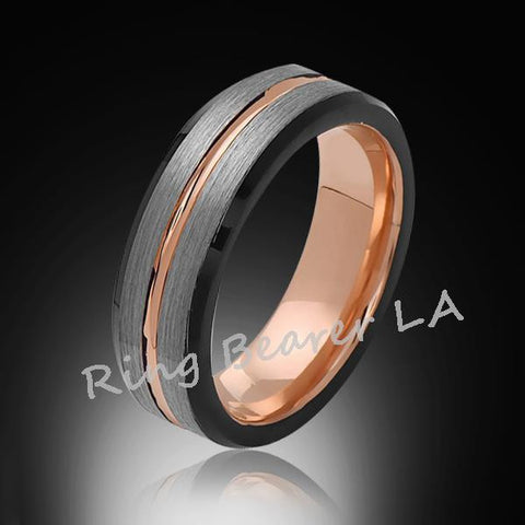 6mm,Rose Gold,Unique,Black,Gray Satin Brushed,Tungsten Ring,Wedding Band,Unisex,Comfort Fit - RING BEARER LA