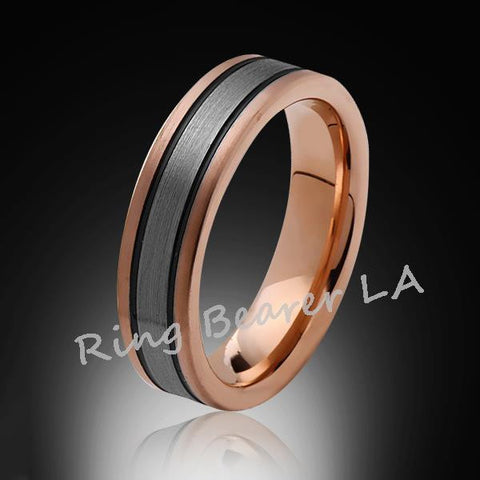 6mm,New,Unique,Satin Rose Brushed,Rose Gold, Black Grooves,Tungsten Ring,Wedding Band,Unisex,Comfort Fit - RING BEARER LA