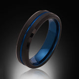 Blue Tungsten Ring - Brushed Black - Blue Groove - Engagement Band - 6MM - Mens Ring - Unisex