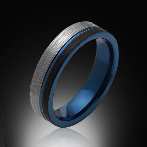 6mm,Brushed Satin Gray and Black,Blue Tungsten Ring,Mens Wedding Band,Comfort Fit - RING BEARER LA