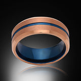 Blue Tungsten Ring - Brushed Rose Gold - Engagement Band - 8MM - Mens Ring - Unisex
