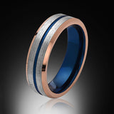 Blue Tungsten Ring - Brushed Gray - Rose Gold - Engagement Band - 6MM - Mens Ring - Unisex - RING BEARER LA